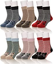 Girls Boys Wool Thick Socks Soft Warm Thermal For Kid Child Toddlers Winter Crew Socks 6 Pairs