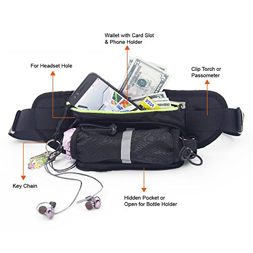 DIGIBIG Waist Bag, Fanny Pack with Bottle Holder for Hiking Cycling, Adjustable Running Belt for Women Men, Water Resistance Waist Pack Fits for iPhone or Samsung Galaxy by DIGIBIG (Image #5)