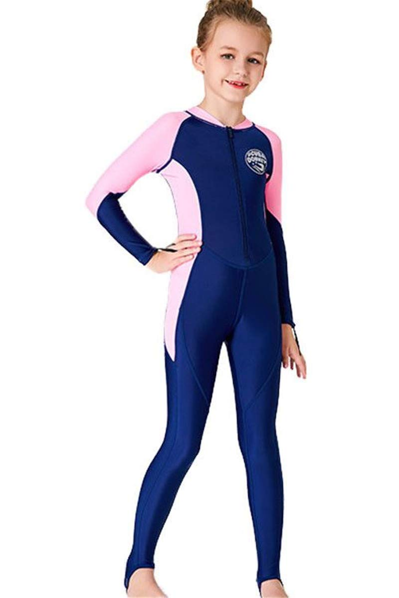 JELEUON Little Kids Girls One Piece Water Sports Sun Protection Rash Guard UPF 50+ Long Sleeves Full Suit Swimsuit Wetsuit Navy-Pink