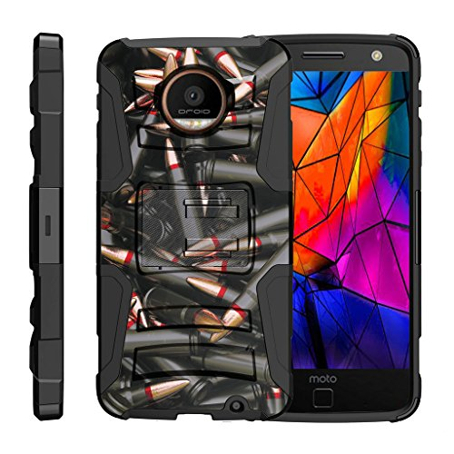 TurtleArmor | Motorola Moto Z Force Droid Case | Z Force Droid Edition [Hyper Shock] Tough Rugged Shell Stand Shock Silicone Holster Belt Clip Military War Camo Design - Black Bullets