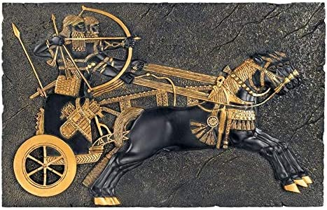Design Toscano Assyrian War-Chariot Wall Sculpture, 13 Inch, Black