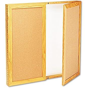 Quartet 826 36 By 36 Inch Conference Cabinet, Cork/Dry Erase Melamine, White/Oak  Frame