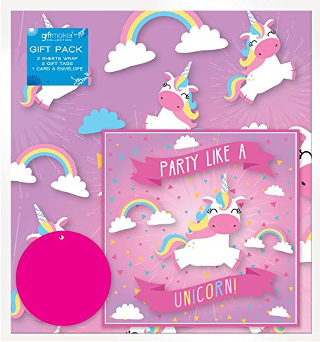 The Home Fusion Company 2 Sheets of Pink Unicorn Birthday Gift Wrap Wrapping Paper,Card & 2 Gift Tags