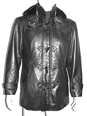 NETTAILOR 2047 Mens Leather Duffle Coats Fashion Fitted Stylish Genuine Lambskin