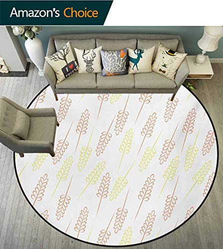 RUGSMAT Harvest Super Soft Circle Rugs for Girls,Pattern with Wheat Grain Ears Autumn Organic Food Bread Cereal Baby Room Decor Round Carpets,Diameter-51 Inch Apple Green Dark Orange White (Wheat Rug Autumn)