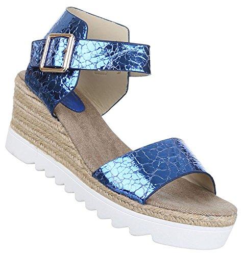 Damen Sandaletten Schuhe Keilabsatz Wedges Strand Sandalen Pumps Schwarz Blau Gold Silber 36 37 38 39 40 41