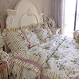 French Country Floral Rose Duvet Cover Set Bedding Set 100% Cotton For Girls 4 PCS (King)