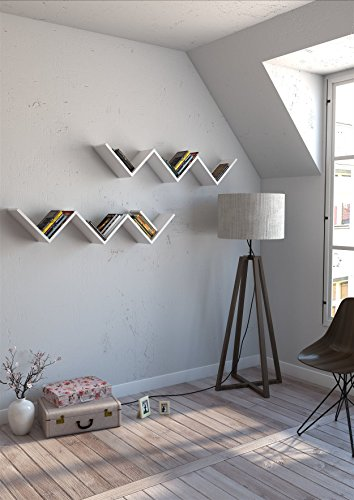 ZigZag Wall Shelf, 100% Melamine Coated Particle Board - White Wavy Shaped, Zig Zag - Size (50.6