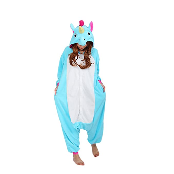 Amazon.com: Engerla Anime Blue Unicorn Cosplay Kigurumi Homewear Sleepwear: Clothing
