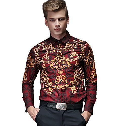 FANZHUAN Shirt Flowers Men Non Iron Shirts for Men Casual Shirt Slim Fit Men Red Asian Slim Size 5XL (US Slim Size (Petite Stretch Seersucker)