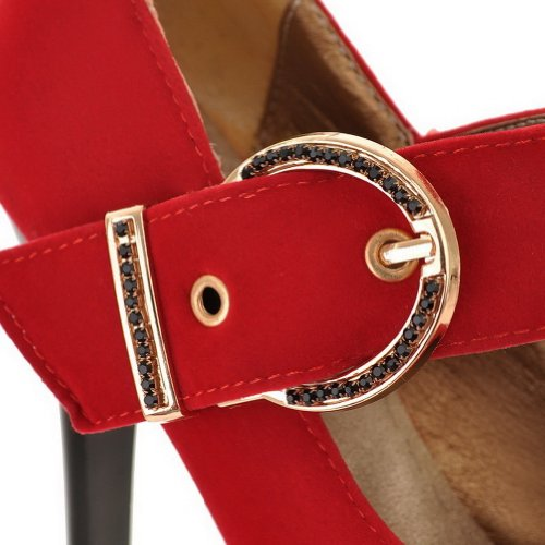 VogueZone009 Womans Closed Round Toe High Heel Spikes Stilettos Suede Frosted Solid Pumps, Red, 6 UK