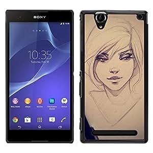 [Neutron-Star] Snap-on Series Teléfono Carcasa Funda Case Caso para Sony Xperia T2 Ultra [Sexy Girl Drawing Sketch Art Eyes Portrait]