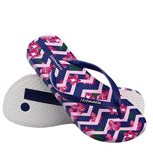 Hotmarzz Chanclas para Mujer Flor Sandalias Verano Playa Piscina Zapatos Ducha Casa Flip Flops Azul