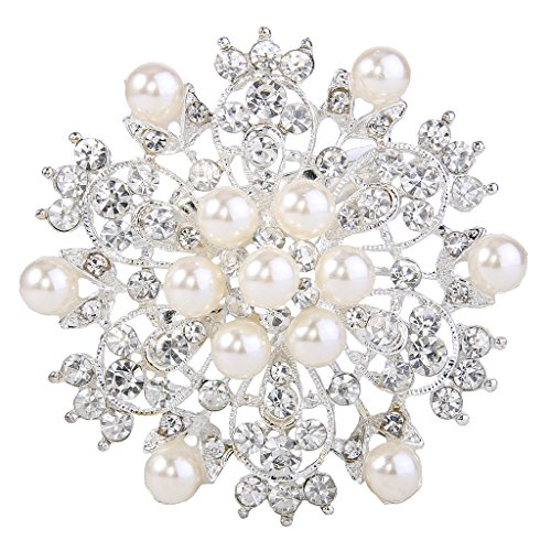 (EVER FAITH Austrian Crystal Cream Simulated Pearl Elegant Flower Corsage Brooch Clear Silver-Tone)