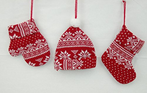 Christmas Red & White Knitted Mini-Stocking, Beanie, and Mitten Ornament Set