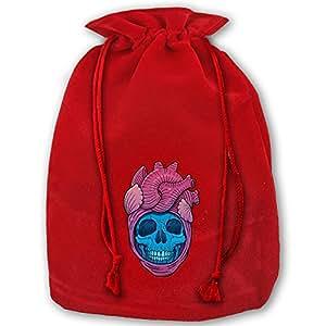 Skullheart Red Velvet Drawstring Santa Plush Gift Bag For Christmas Wedding Gifts