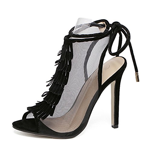 fereshte Womens Elegant Peep-Toe Tassel Translucent Mesh Back Strappy Sandal High Heel Party Pump Black