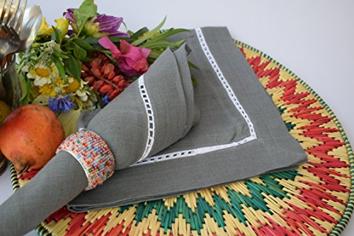 Linen Clubs – 100% Pure Linen, Dinner Napkin with Hem Stitched – Charcoal – 16×16 Inches (Set of 12 Pack). Hemstitched hand made ladder lace look napk…
