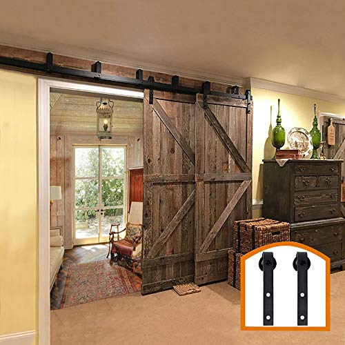 ZEKOO New Style 5 FT - 16 FT Bypass Sliding Barn Door Hardware Steel Track for Double Wooden Doors Closet Kitchen Kit Low Ceiling (6FT New Style Bypass kit) (Hung Double Closet Doors)