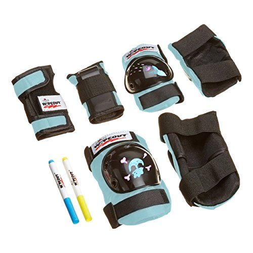 Wipeout Dry Erase Kids' Pad Set with Knee Pads, Elbow Pads, and Wristguards, Teal Blue ()