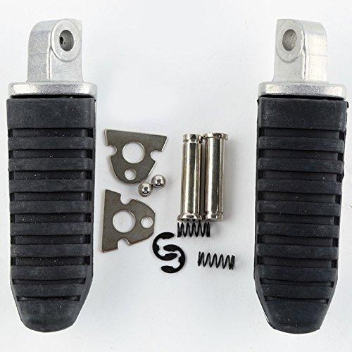 TCMT Silver Rear Black Rubber Inlay Foot Pegs Motorcycle Footpeg Footrest Bracket Set Fits For Suzuki Hayabusa GSX1300R 2008 2009 2010 2011 (Hayabusa Rear Sets)