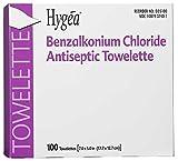 PDI Healthcare D35185 Hygea Benzalkonium Chloride Antiseptic Towelettes, Alcohol Free, 7'' x 5-1/2'' Size (Case of 2000)