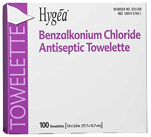 PDI Healthcare D35185 Hygea Benzalkonium Chloride Antiseptic Towelettes, Alcohol Free, 7