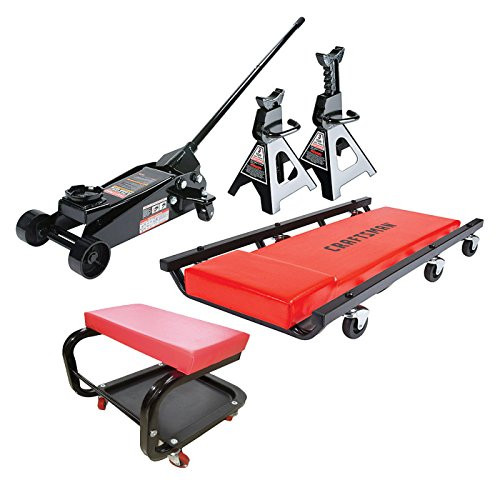 3 Ton Floor Jack Set, Jack Stands, Creeper, and Mechanic Seat