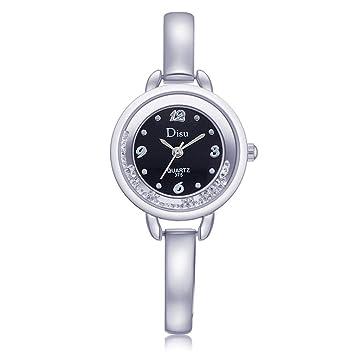 iHee - Relojes para mujer, reloj elegante de pulsera de cuarzo recubierto con brillantes, relojes elegantes para usar con vestidos, plata: Amazon.es: ...