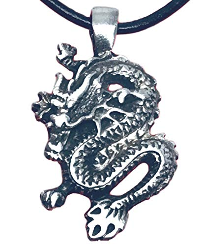 - Trilogy Jewelry Pewter Chinese Dragon China Pendant on Leather Necklace