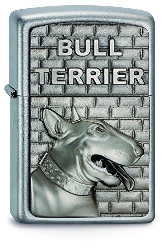 Zippo Lighter Bull - Zippo Lighter with Bull Terrier and 3D Emblem Chrome