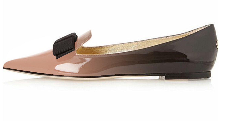 Eldof Women's Flats, Pointed Toe Flats Pumps, Patent Leather Flats Pumps, Walking Dress Office Classic Comfortable Flats B07F138VF1 7 B(M) US|Beige-black