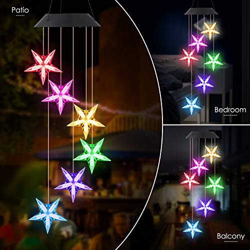 POWLIFE Wind Chime Outdoor Color-Changing Waterproof Mobile Romantic Led Solar Powered Star Wind Chimes Lights for Home, Indoor, Yard, Patio, Night Garden, Party, Valentines Gift, Festival Decor