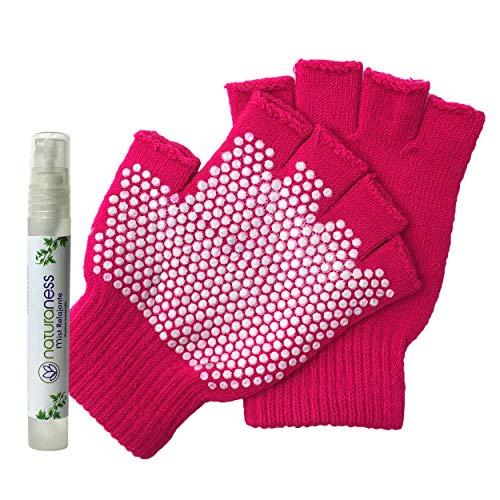 Xianzuxiu Naturaness, Guantes antiderrapantes para Pilates y Yoga. Color Rosa, Incluye de Regalo Mist Personal Aroma Lavanda.