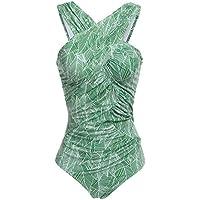 Ekouaer traje de baño de una sola pieza tipo monokini de inspiración retro fruncido para mujer