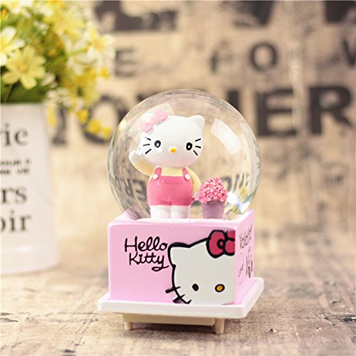 Glass Snowflake Friend Ornament - Huhgue Best Gifts Glass Craft Ornament Home Decoration Hello Kitty Music Box Crystal Ball Snowflakes Clockwork Musical Boxes-Standing