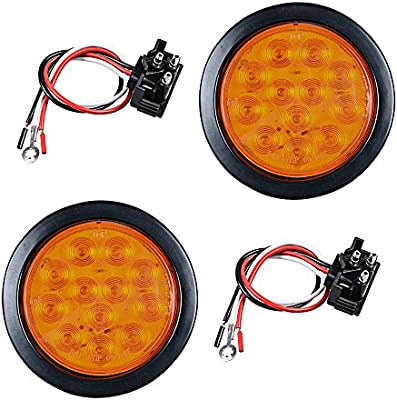 2pcs AMBER 4 Round 12-LED Truck RV Trailer Tail Turn Signal Light with Rubber Cover Wiring Plug Kit