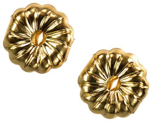 Solid 14K Yellow Gold Earring Backs Jumbo Premium Swirl 9mm (1 Pair)