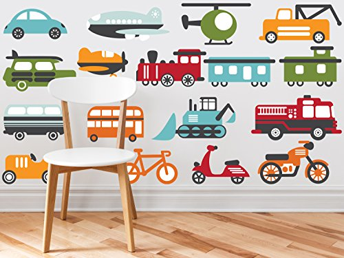 Sunny Decals Transportation Fabric Wall Decals, Large