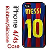 iPhone 4 4S Rubber Silicone Case - Messi Jersey #10 Barcelona Soccer Futsal FC