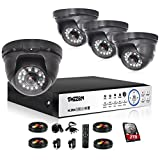 TMEZON 4 Channel AHD Home Security Cameras System 1080P DVR Kit 4x HD 1080P 2.0MP Night Vision Indoor/Outdoor CCTV Surveillance Quick Smartphone View Free App 2TB HDD