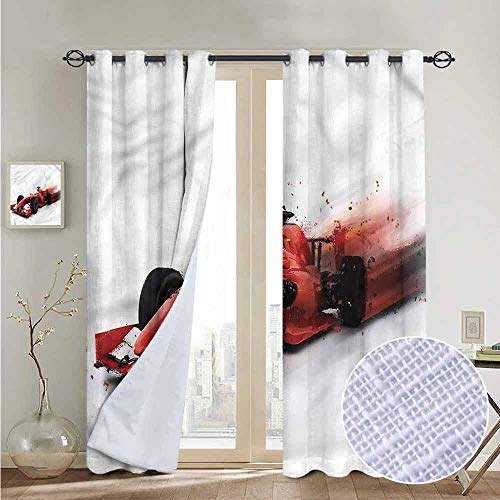 - NUOMANAN Bedroom Curtain Cars,Formula 1 Auto Racing,Insulating Room Darkening Blackout Drapes 84