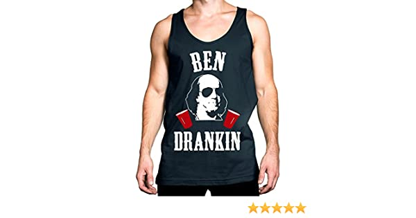 e98d5a6e216d14 Amazon.com  NoBull Woman Apparel Ben Drankin 4th of July Tank Top Men s Navy  Blue with White   Red Print  Clothing