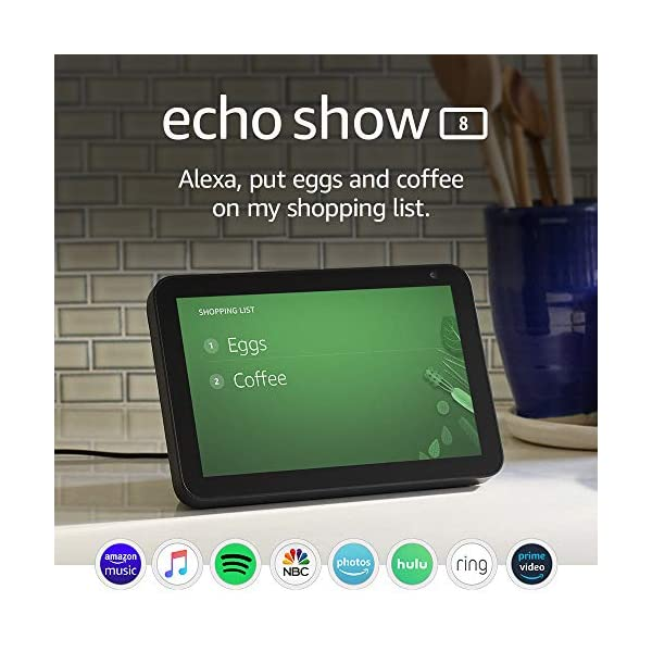Echo Show 8 -- HD smart display with Alexa – stay connected with video calling - Charcoal 1