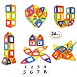Baby : Magnetic Blocks STEM Educational Toys Magnet Building Block Tiles Set for Boys and Girls by Coodoo-24pcs