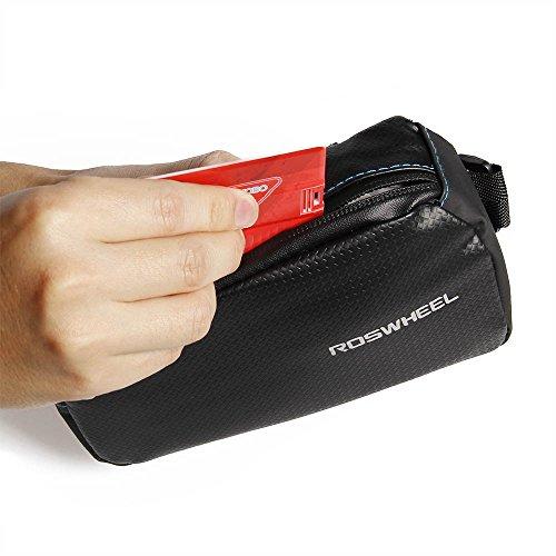 """Roswheel Herausnehmbar Fahrradtasche Wasserabweisend Rahmentaschen Mit Zwei Fäche Frarradschnalletasche und Silikon Handyhalterung geeignet für Handy mit Größe 4"""" bis 6,7"""" Außerdem ein Sportarmband fü"""