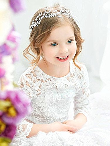 Yean Babys Breath Hair Piece Wedding Hair Vine Sillver Rhinestone Headband Bridal Branch Crystal Wreath Crown Bridal Flower Vine Accessories for Bride and Bridesmaid - 15.74inches