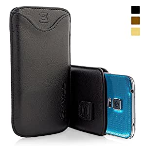 Snugg Galaxy S5 Leather Case in Black - Pouch with Card Slot, Elastic Pull Strap and Premium Nubuck Fibre Interior for the Samsung Galaxy S5