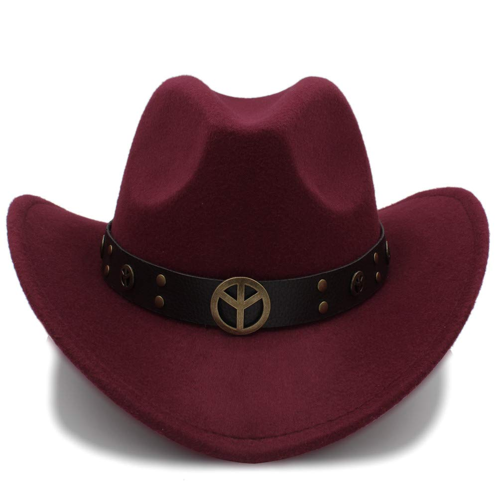 gmshezmh Fashion Winter Warm Cowboy Hat Suede Look Wild West Fancy Dress for Men Ladies Cowgirl Unisex Hat Roll-up Hat Cap Hats (Color : Wine red, Size : 56-58cm)