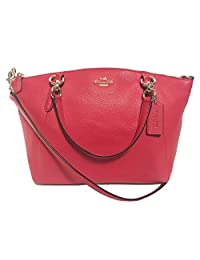 Coach Pebble Leather Small Kelsey Satchel Crossbody Bag (Bright Pink)